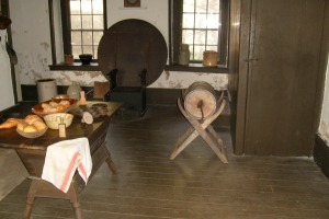 Kitchen area at Moulder's Kitchen.  The food on display is not authentic to the time period interpreted at Hopewell.